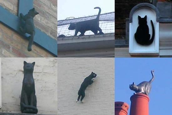 В 19-м веке неизвестно кто расставил скульптуры кошек по крышам зданий Нью-Йорка
