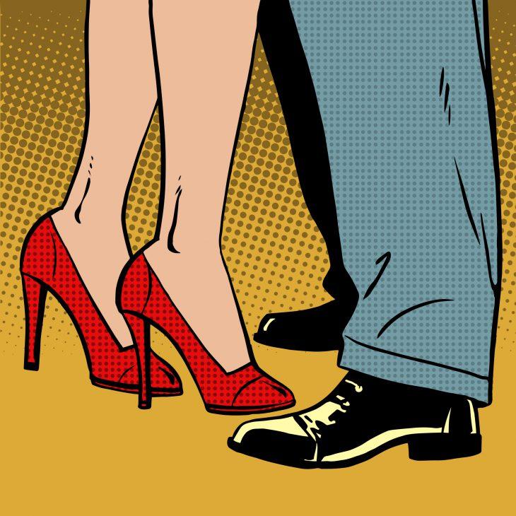 love man and woman dance hugs pop art comics retro style Halfton
