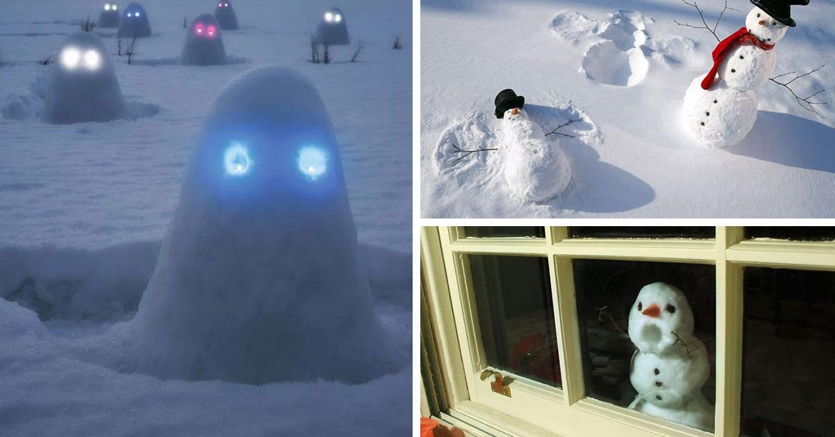 30 самыхсмешных икреативных снеговиков