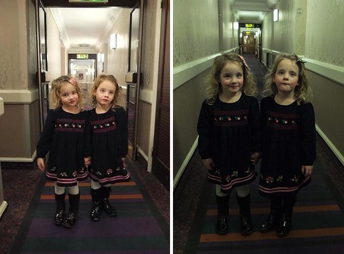 Папа-шутник использует дочек-близнецов чтобы пугать постояльцев отеля