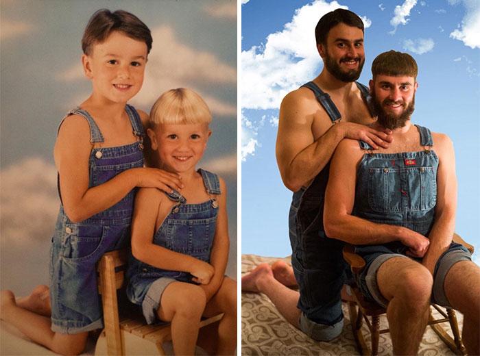 Эти люди домелочей воссоздали свои детские фотографии. Получилось здорово!
