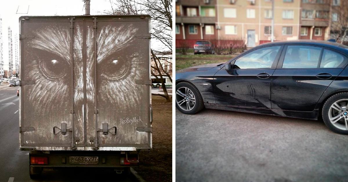 Как можно было нарисовать такие детальные картины на… грязных машинах?!