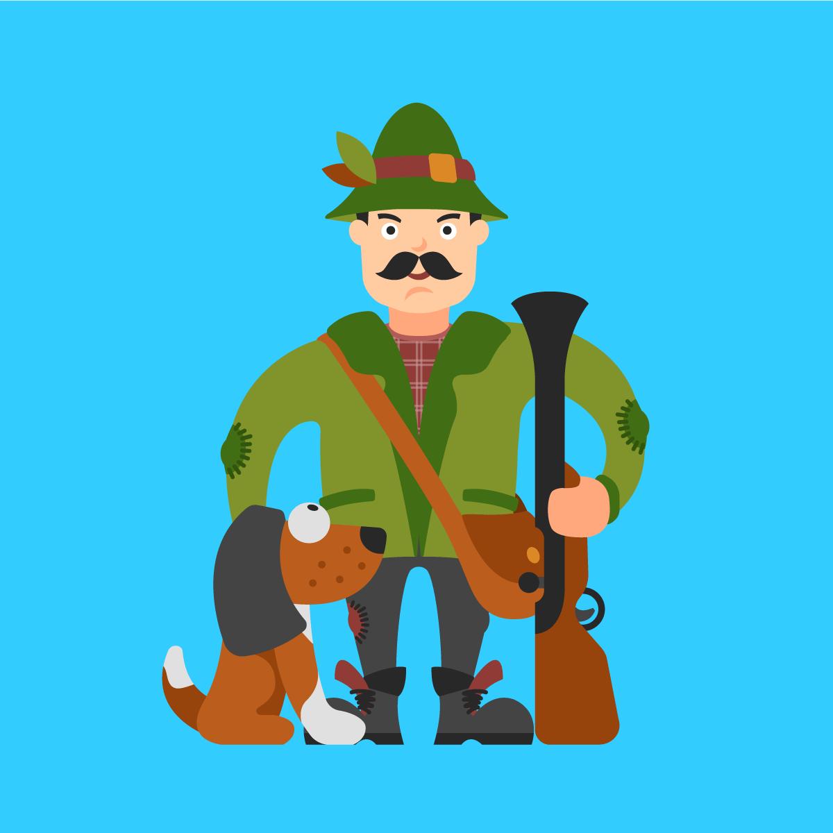 Охотник картинка нарисованная