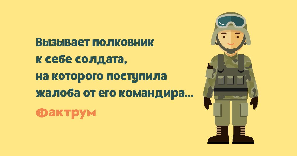 Анекдот про солдата, высказавшего всё, что ондумает окомандире