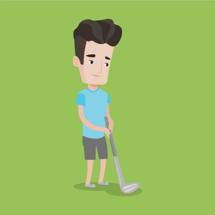 Анекдот про компанию рассерженных мужчин наполе для гольфа