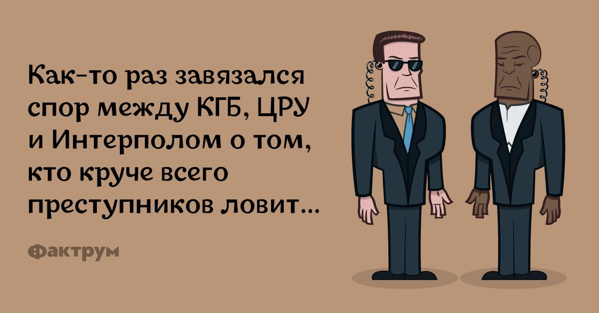 Анекдот о том, как КГБ, ЦРУ и Интерпол поспорили