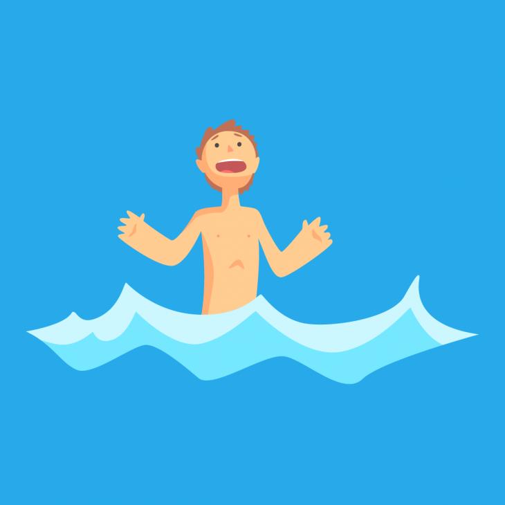 Анекдот о том, как парнишка голым на речке купался