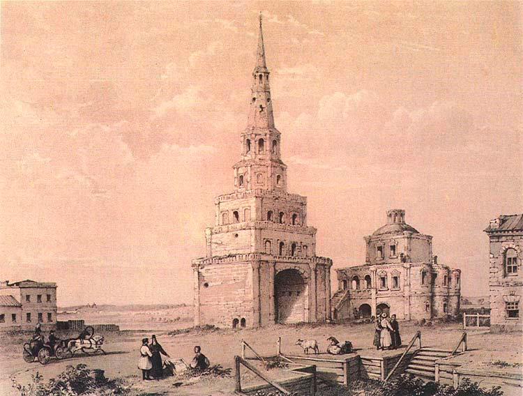 Башня на гравюре Э. Турнерелли начала XIX века