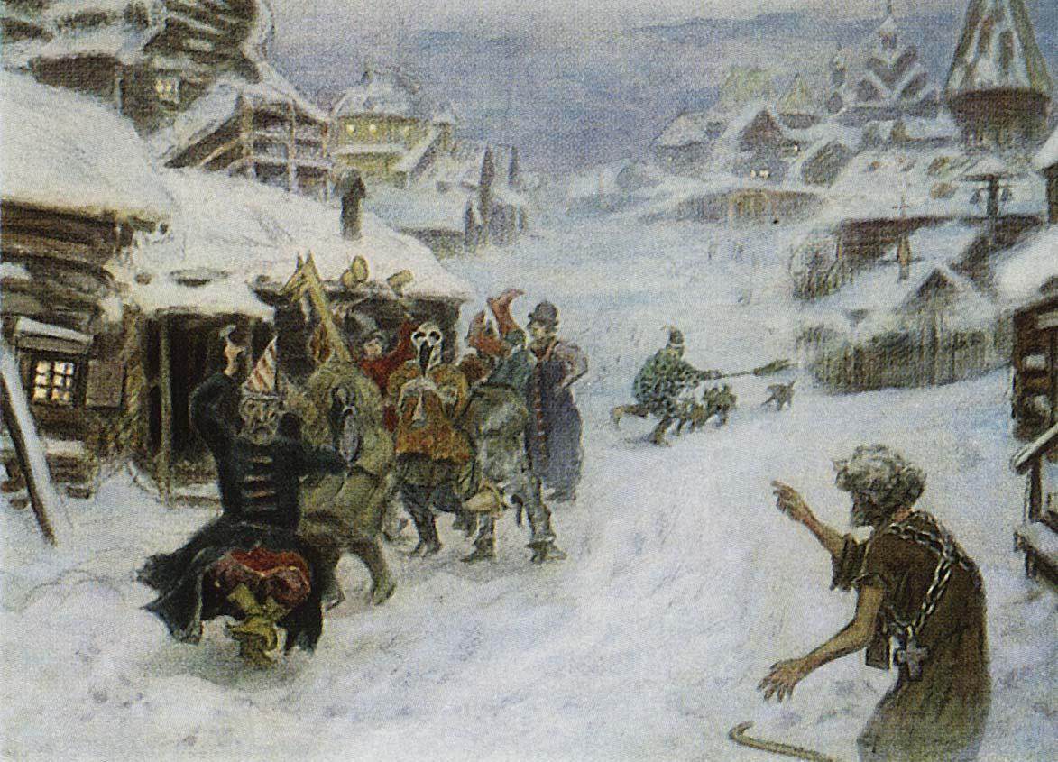 Картина Аполлинария Васнецова «Скоморохи», 1904 год