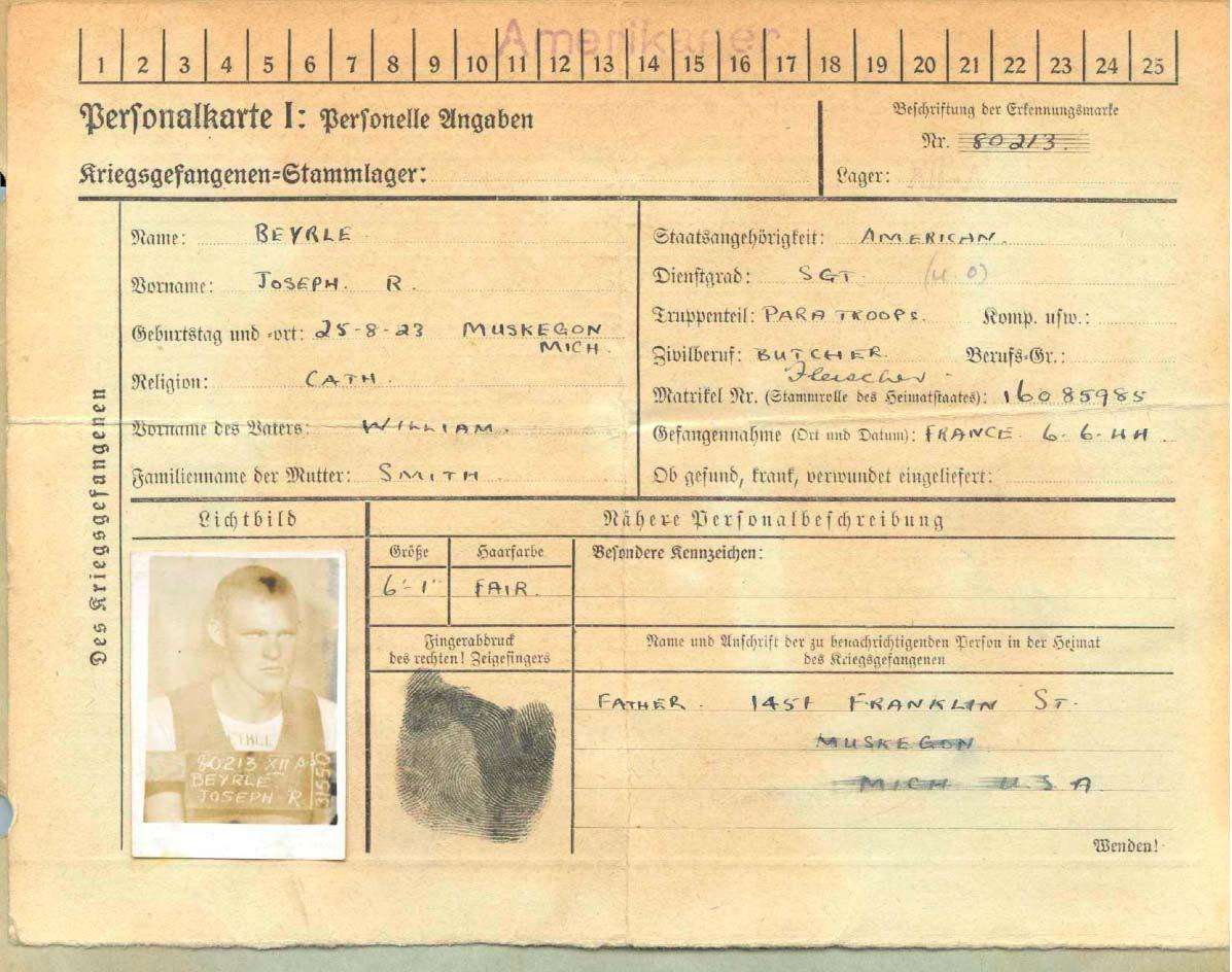 Карточка военнопленного Джозефа Байерли
