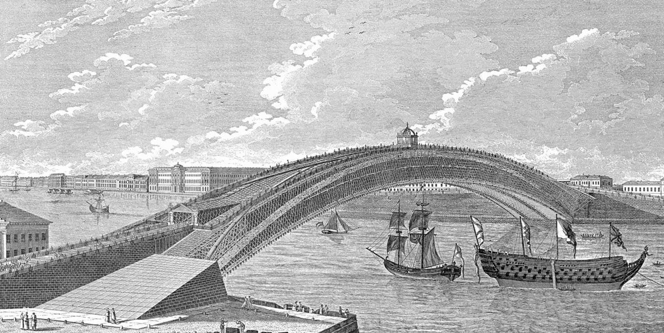 Проект деревянного моста через Неву