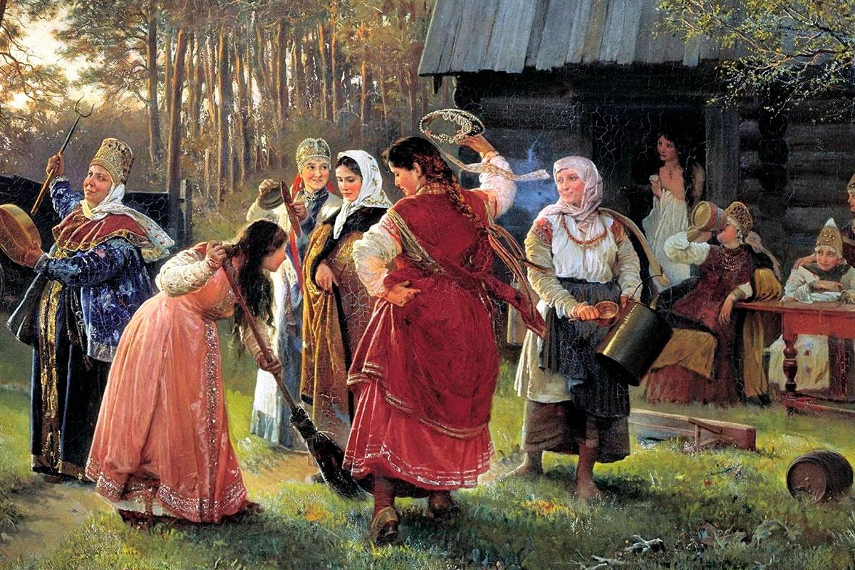 Девичник перед свадьбой на Руси
