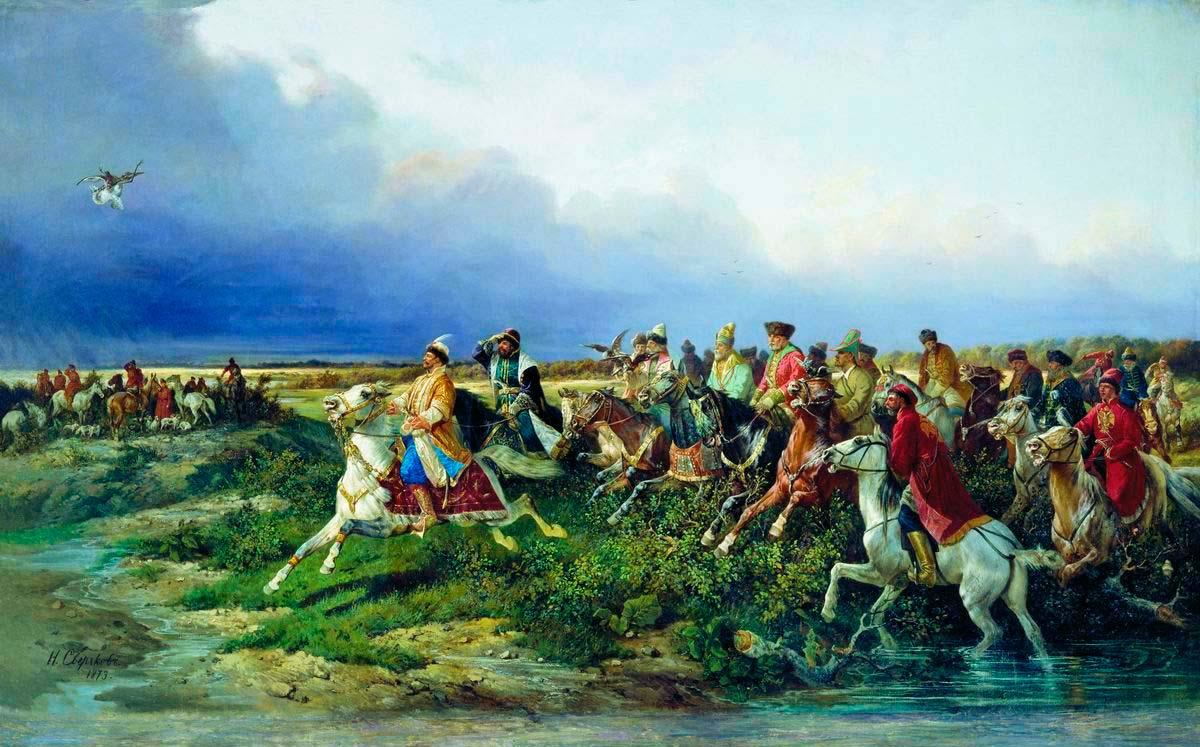 Царь Алексей Михайлович сбоярами насоколиной охоте близ Москвы