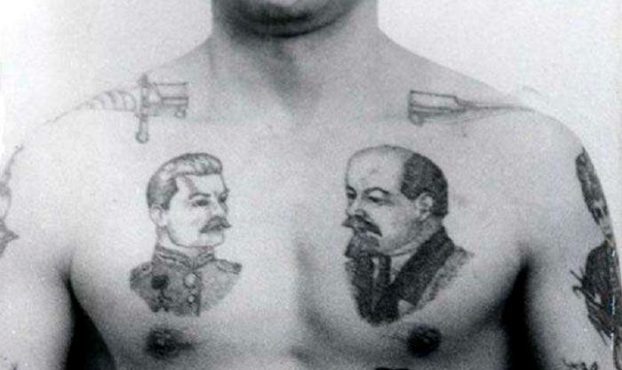 Татуировка Сталина и Ленина на груди заключённого