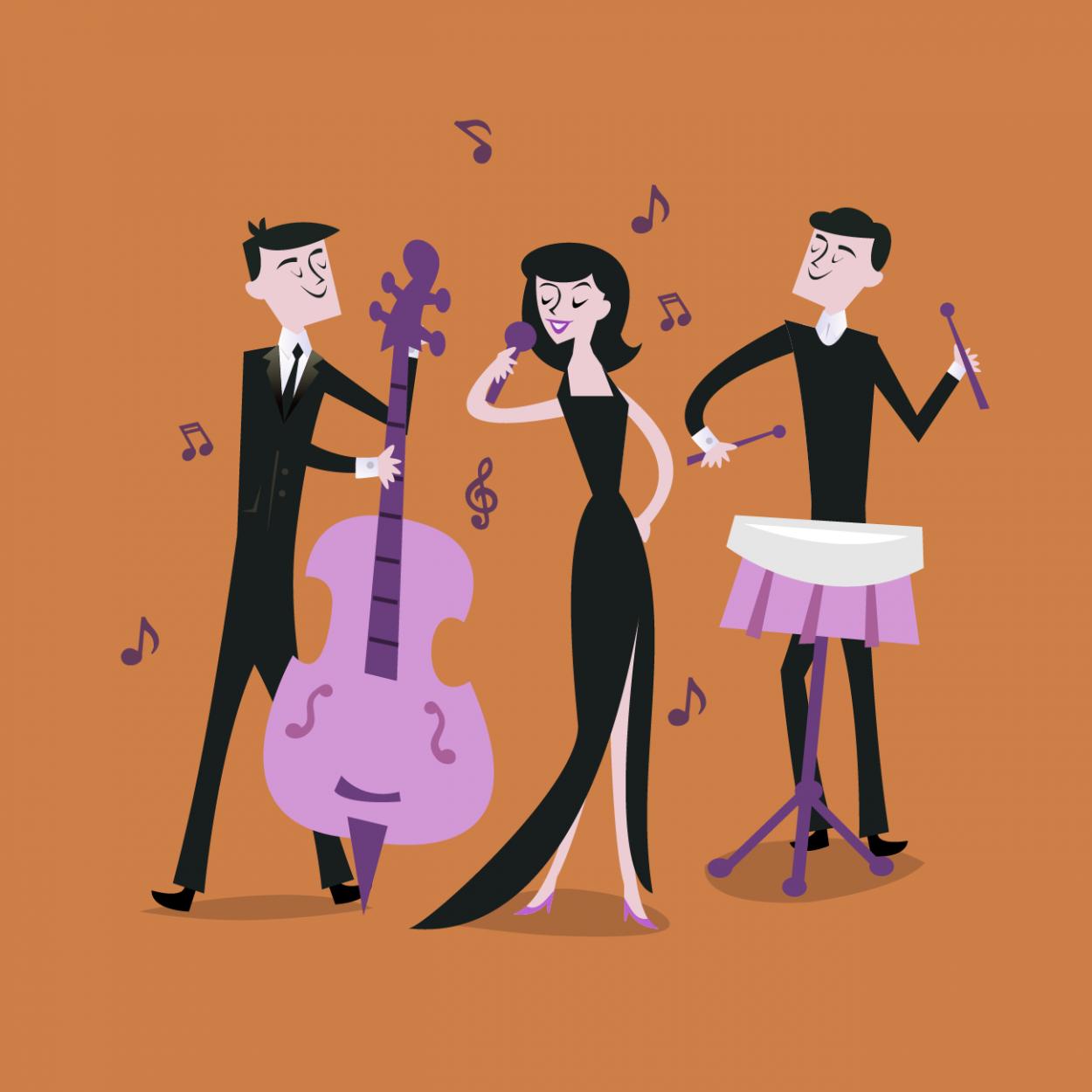 Иллюстрация к анекдоту про нового русского и джаз