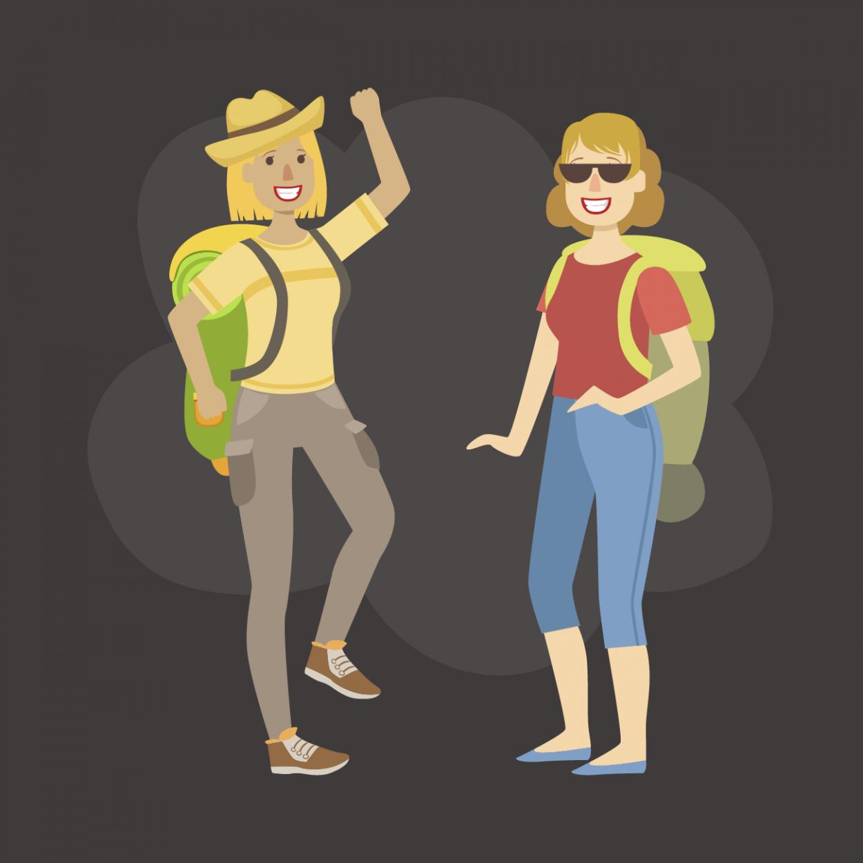 Иллюстрация к анекдоту про спор двух блондинок во время похода