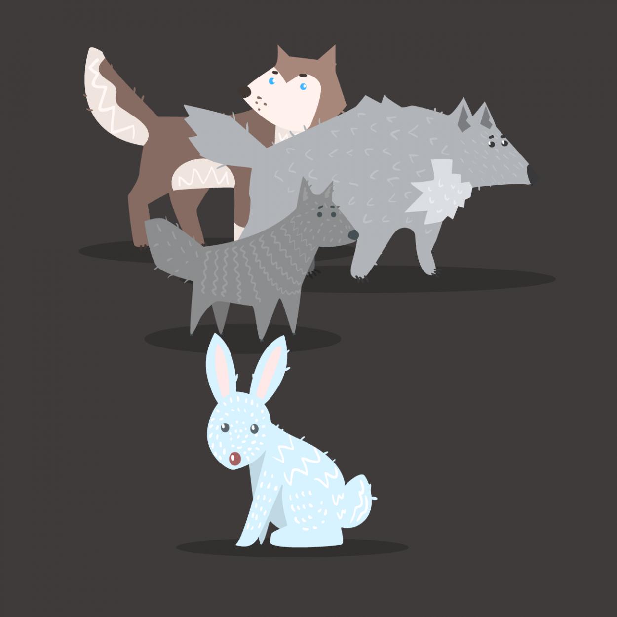 Иллюстрация к анекдоту про зайца и стаю голодных волков
