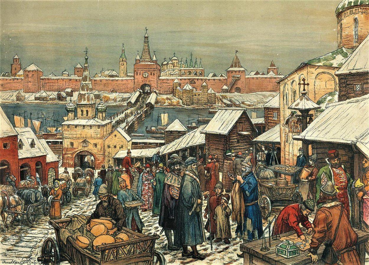 Картина А. Васнецова «Новгородский торг».