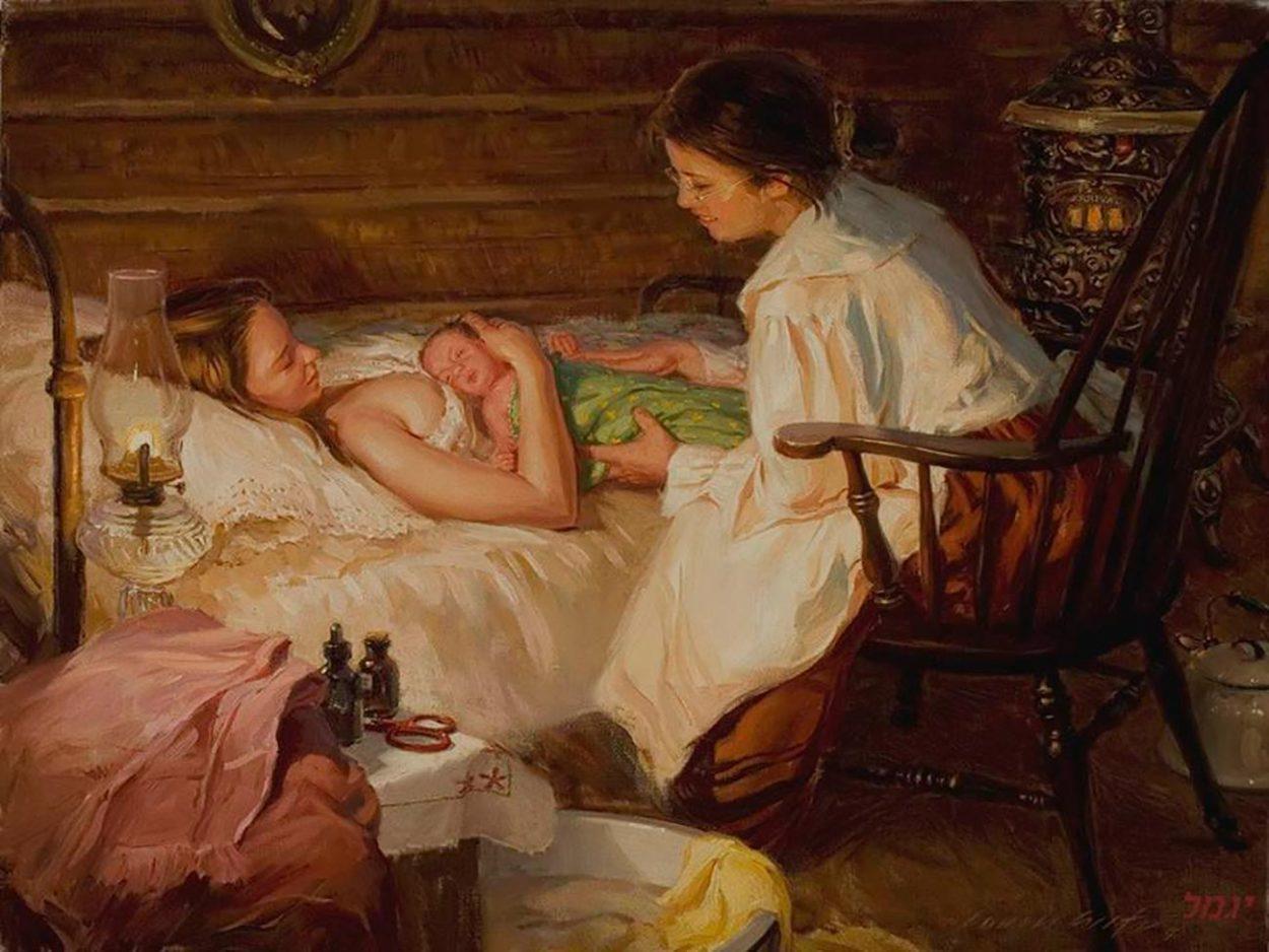 Беременная женщина и повитуха