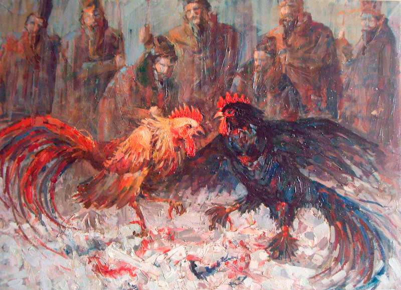 Картина А. Шуста «Петушиный бой».