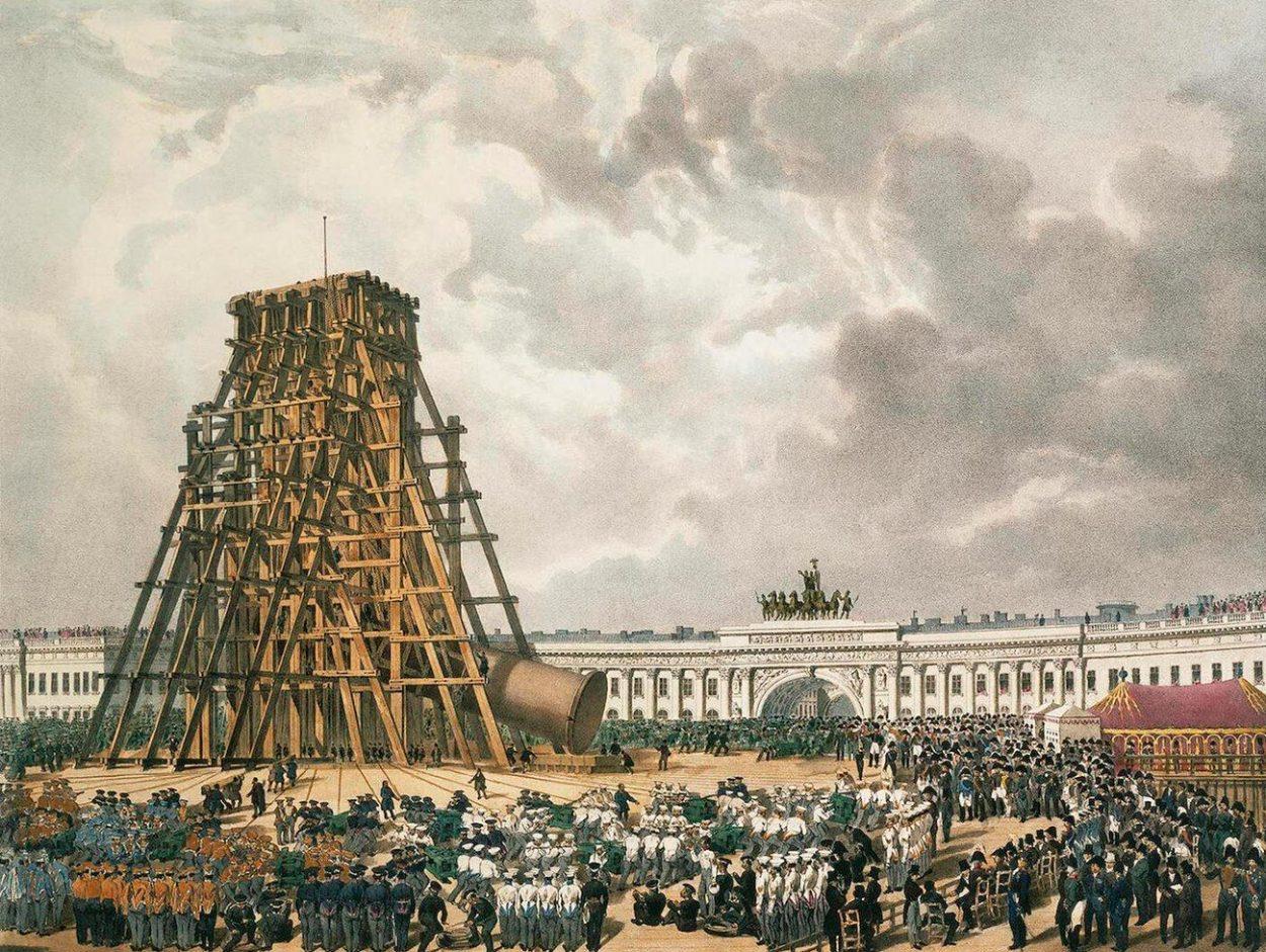 Подъём Александровской колонны в 1832 году