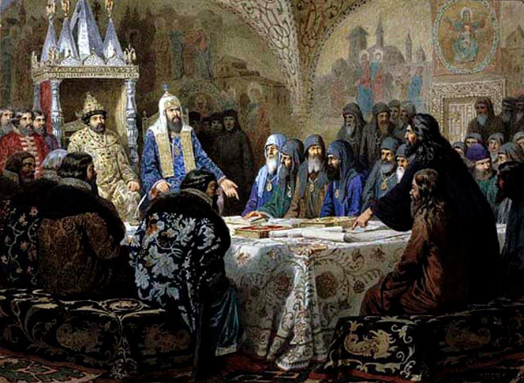 «Церковный cобор. 1654 год. Начало раскола».  А. Кившенко