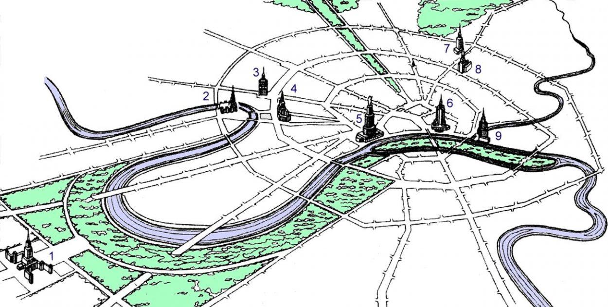 Сталинские высотки на карте Москвы