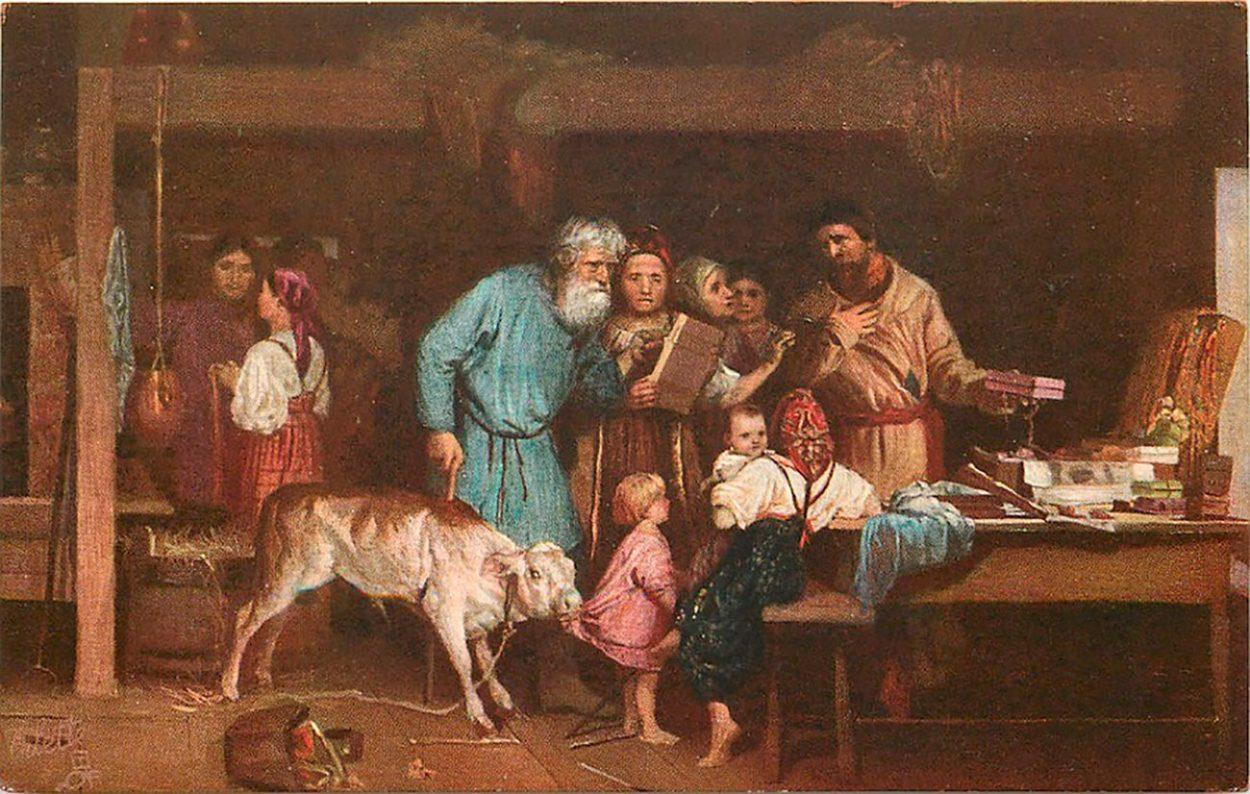 Картина  Н. Кошелева «Офеня-коробейник»