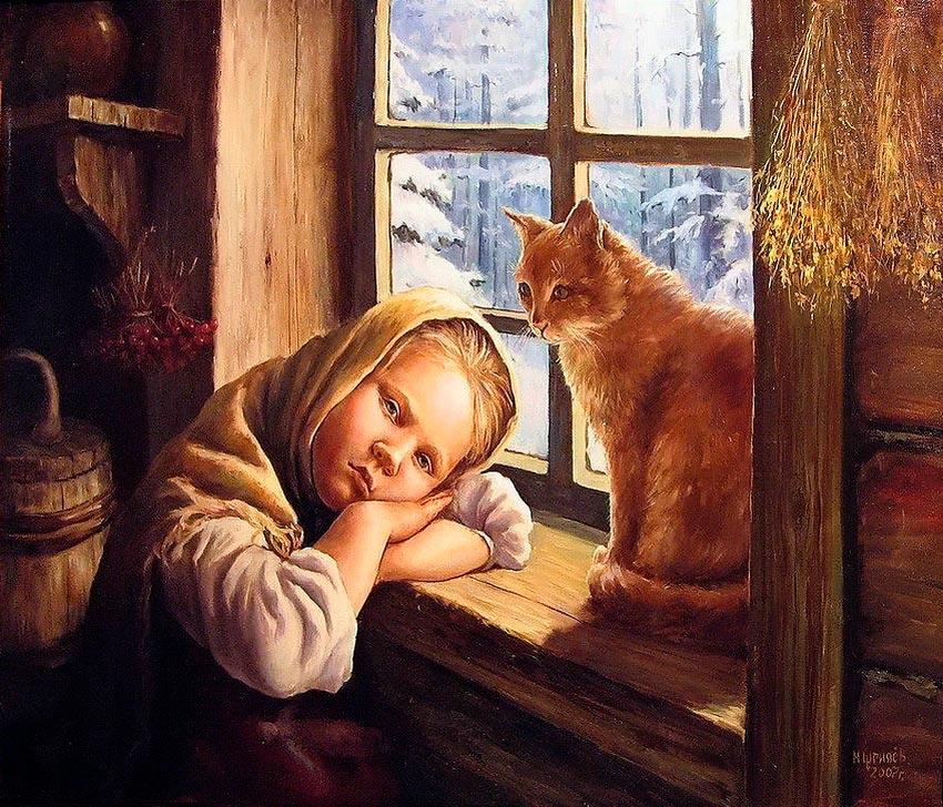 Картина М.Н. Щрилёва «Даренка с кошкой»