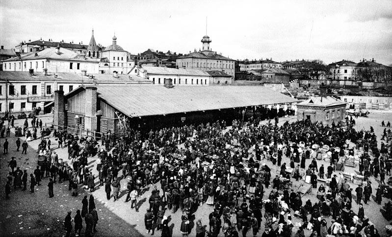 Биржа труда и столовая на Хитровской площади. 1917 год.