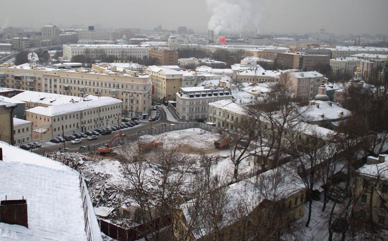 Строительство сквера на месте Хитровской площади