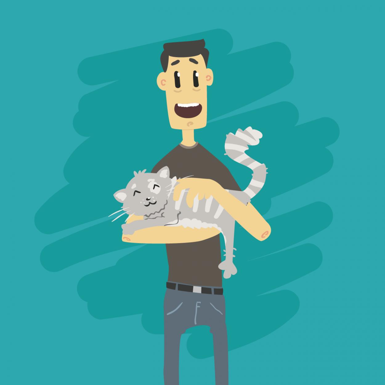 Иллюстрация к анекдоту про мужика и кота