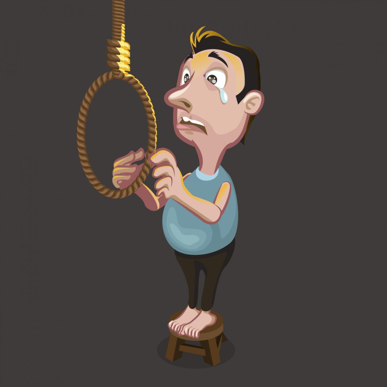 Иллюстрация к анекдоту про мужика, который хотел повеситься