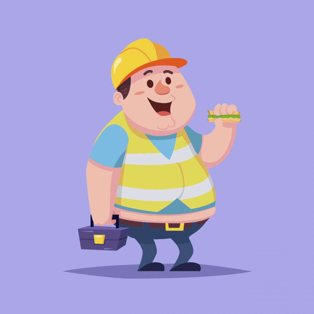 Иллюстрация к анекдоту про трёх строителей и пирожки