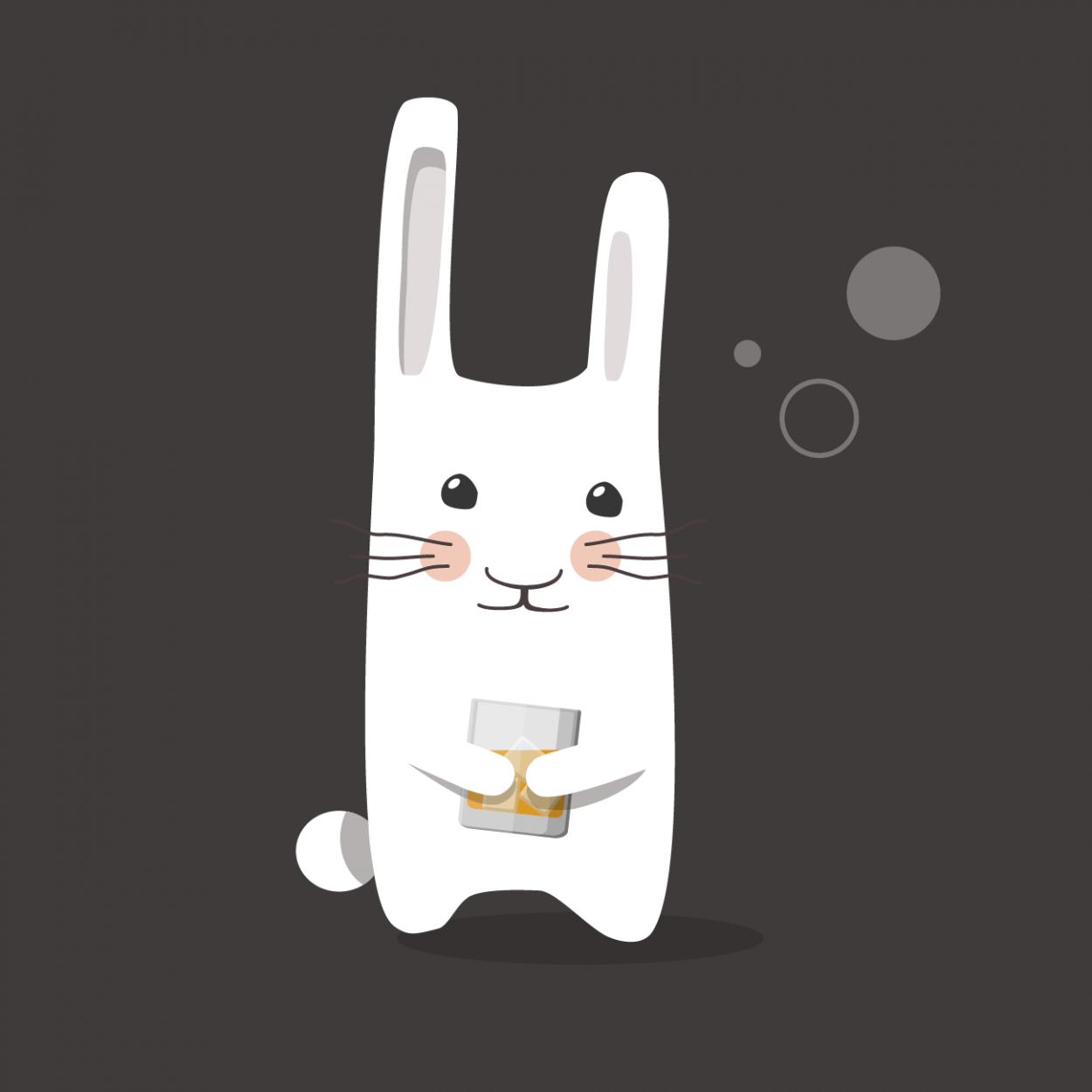 Иллюстрация к анекдоту про зайца в баре