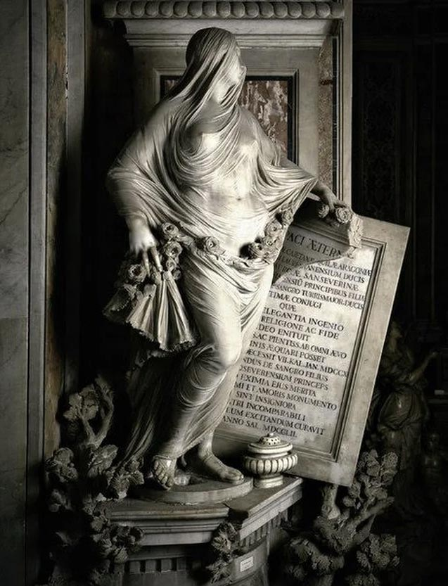 Каменная вуаль на скульптуре «Целомудрие»