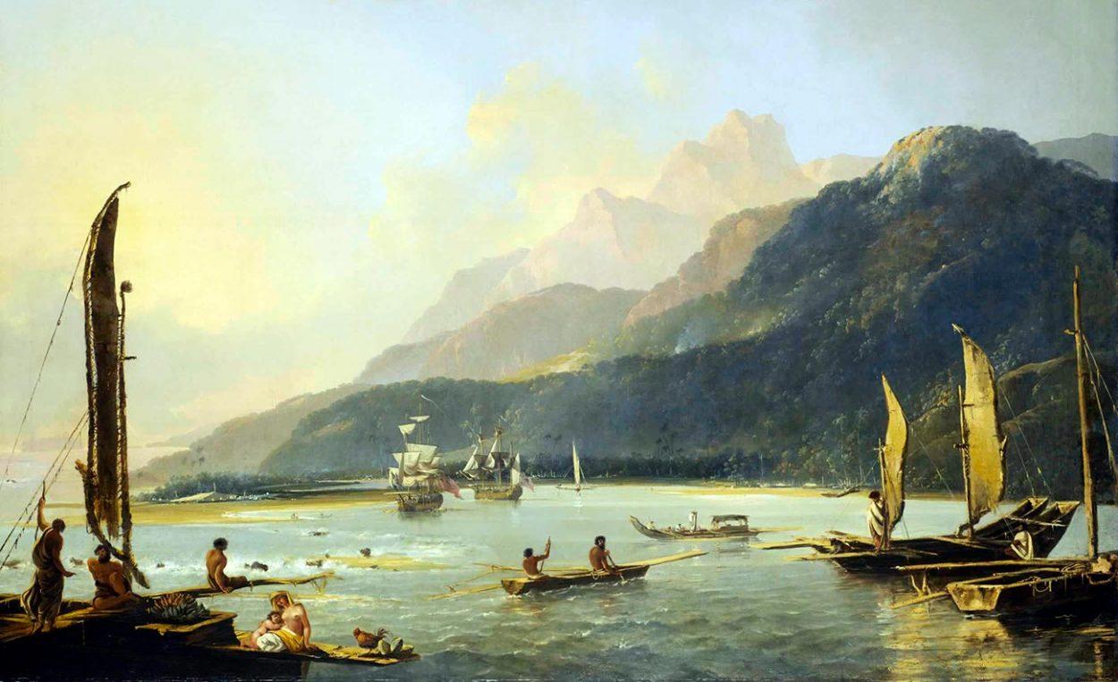 «Резолюшн» и «Эдвенчур» в заливе Матавай (Таити). У. Ходжес
