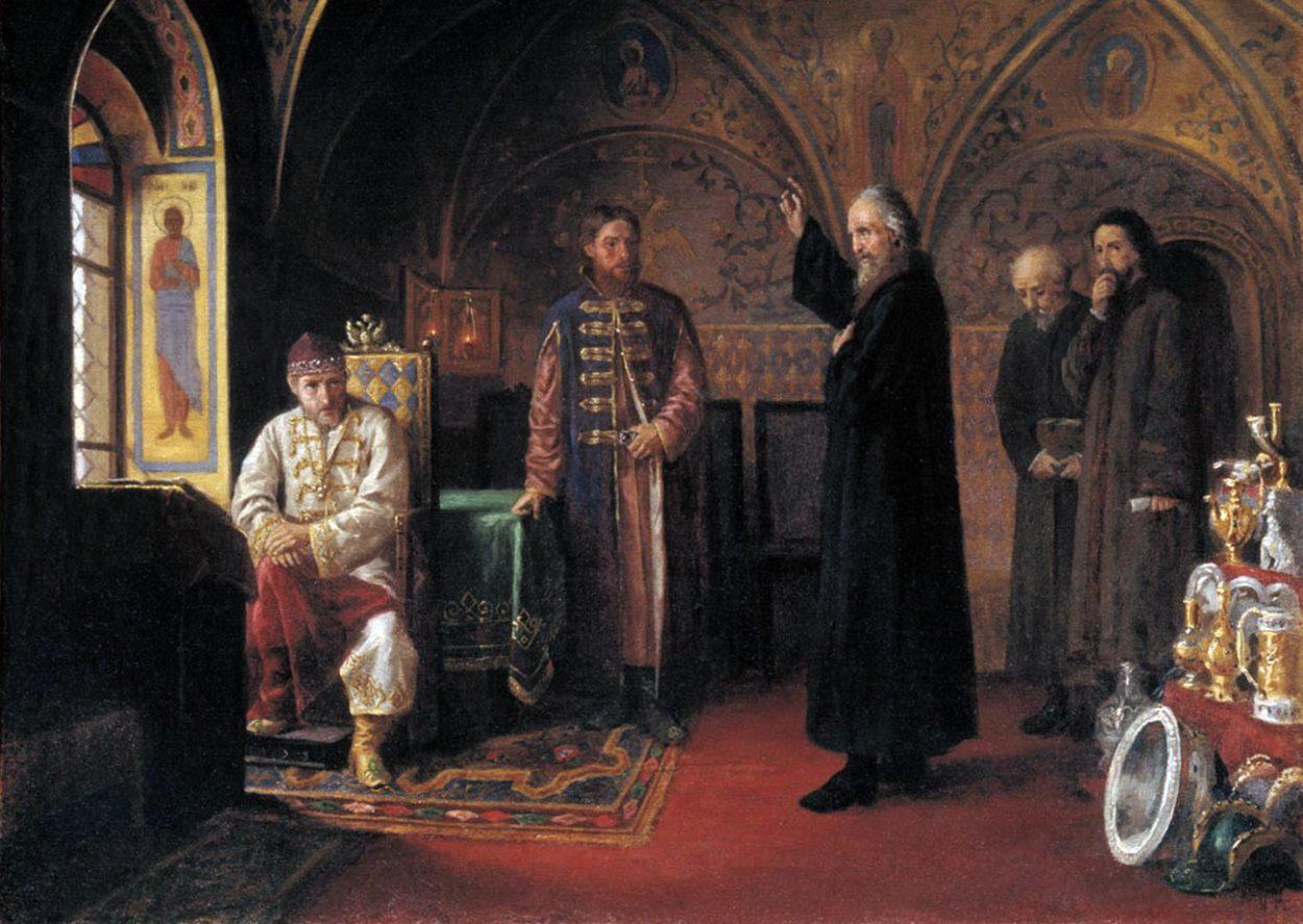 Картина Я. Турлыгина «Митрополит Филипп обличает Ивана Грозного»