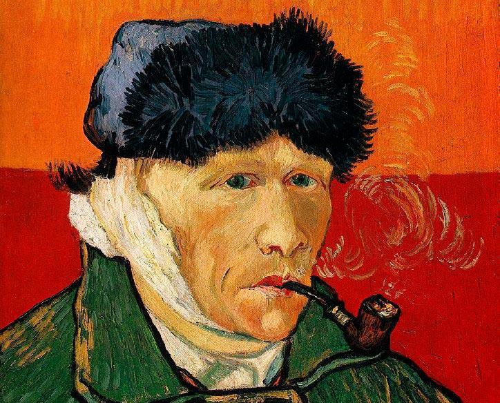 Ван Гог.  Автопортрет с отрезанным ухом и трубкой