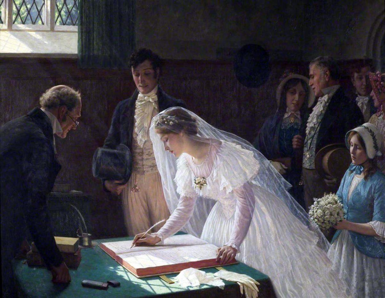 Картина Э. Лейтона «Регистрация брака».