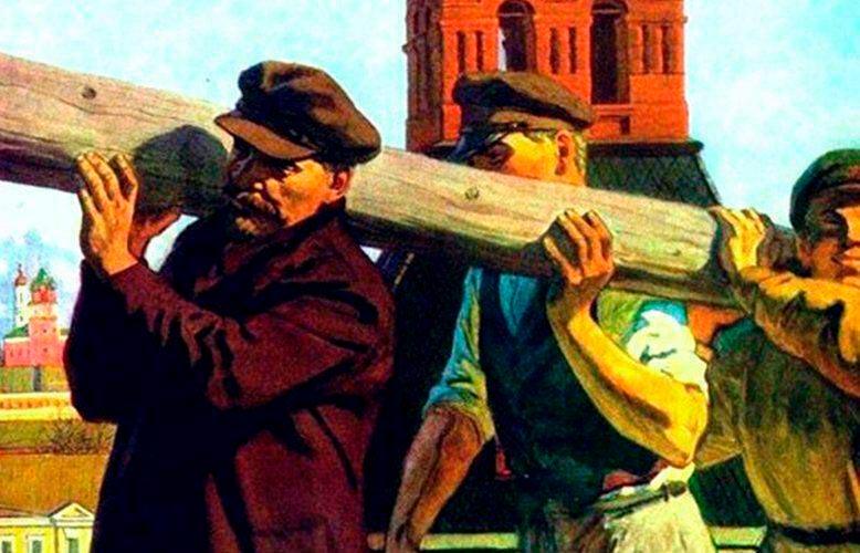 Ленин на субботнике с бревном