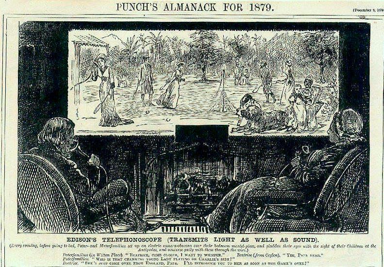 Иллюстрация в газете, рекламирующая «телефоноскоп» Эдиссона