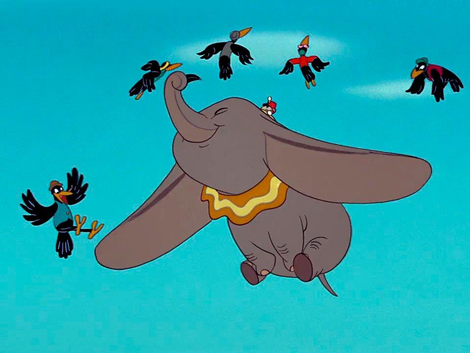 Слоненок «Дамбо» и чёрные вороны