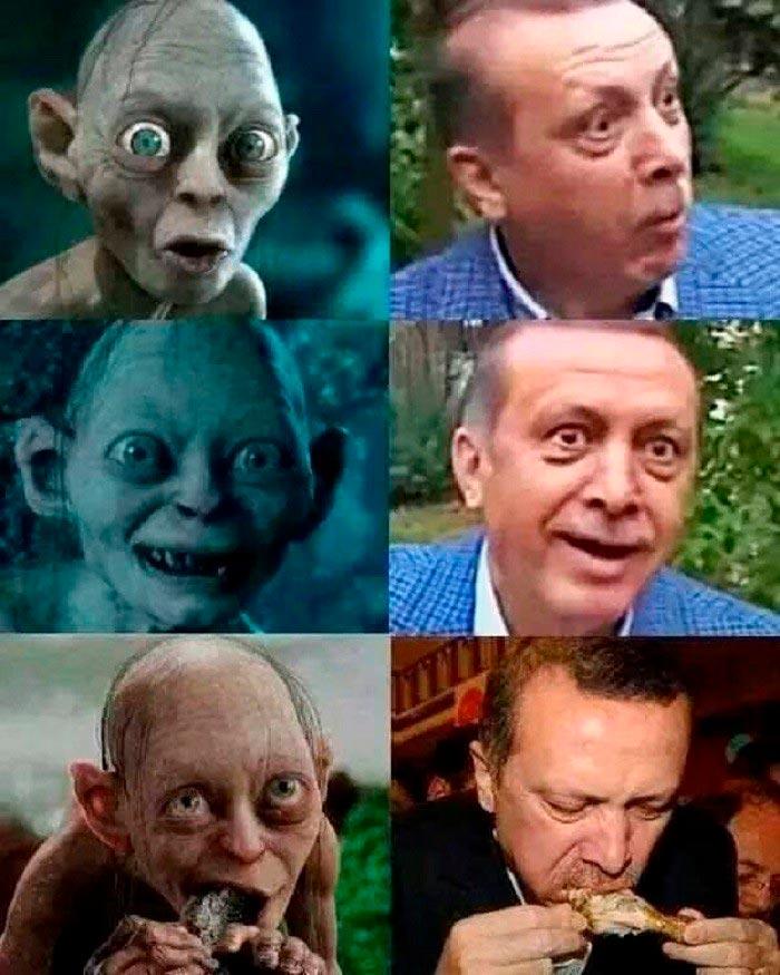 Мем про Голлума и Эрдогана