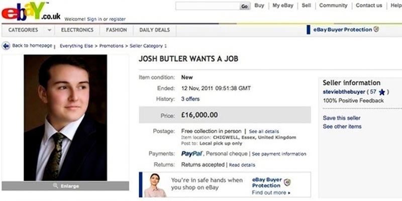 Скриншот объявления на ebay Джоша Батлера
