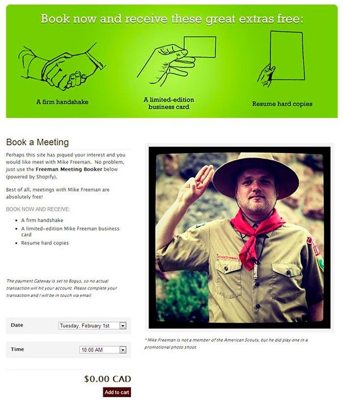 Креативное резюме Майка Фримена для компании Shopify