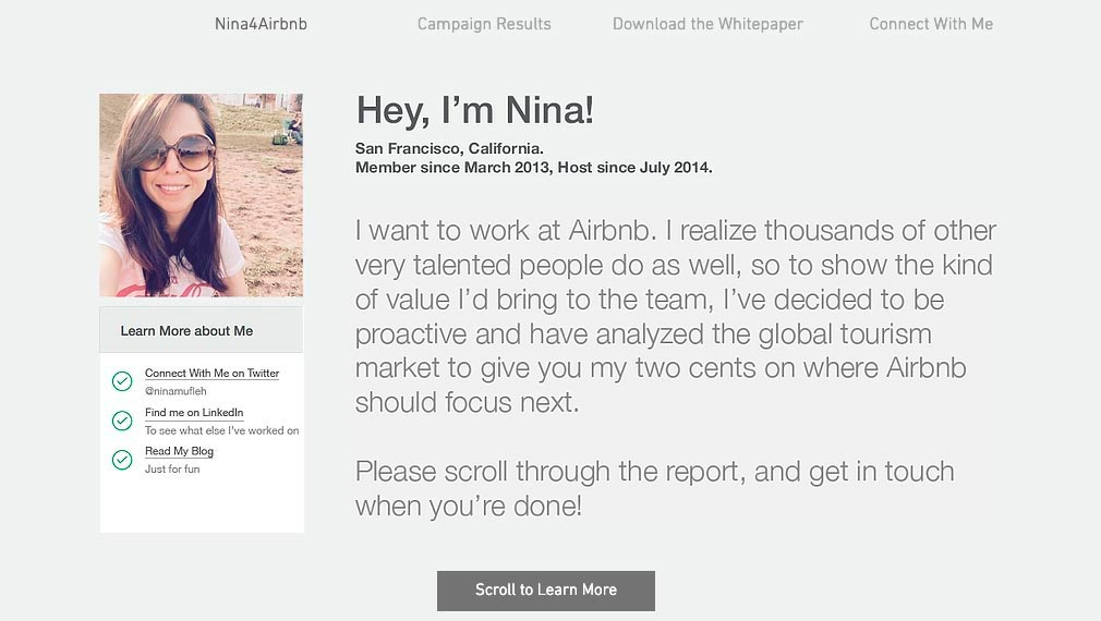 Резюме Нины Муфле для компании Airbnb