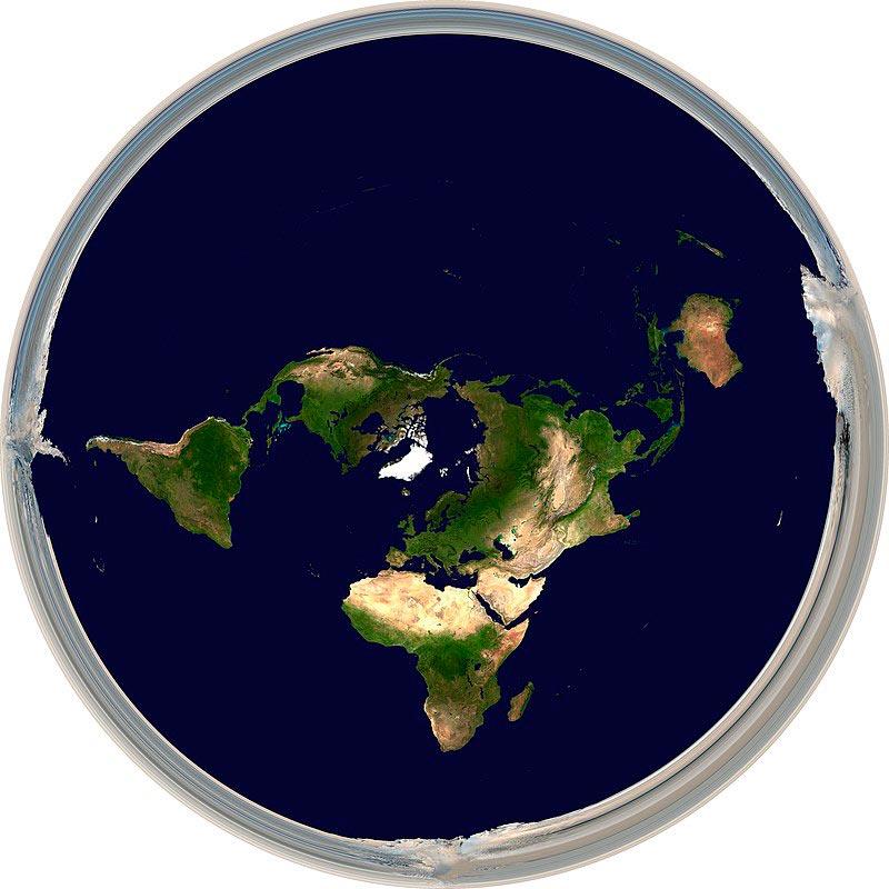 Карта плоской Земли в представлении плоскоземельцев