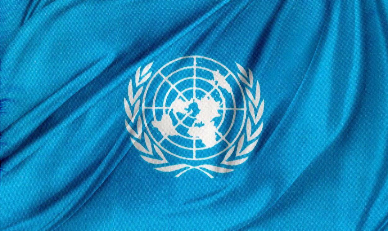 Изображение плоской земли на флаге ООН