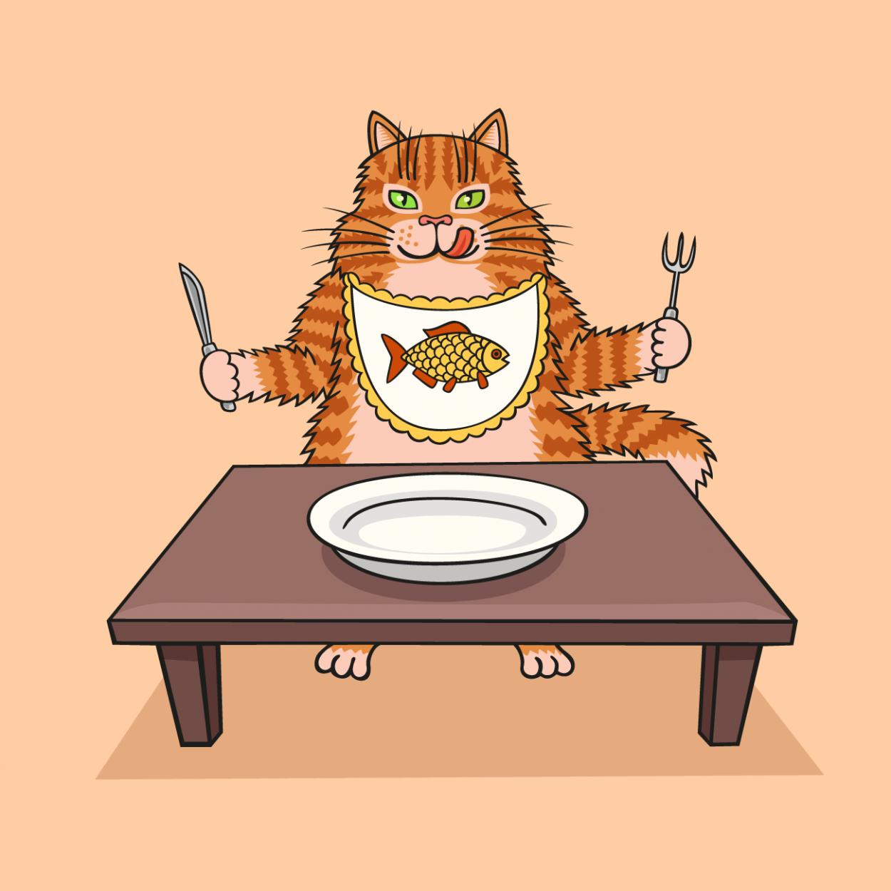 Иллюстрация к анекдоту про кота, который еду выпрашивал